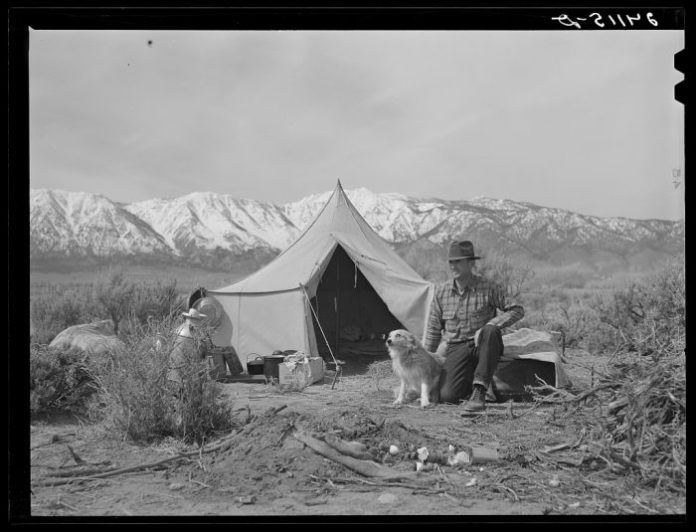Basque sheepherder camped on the range. Dangberg Ranch, Douglas County, Nevada. Photo by Arthur Rothstein. 1940
