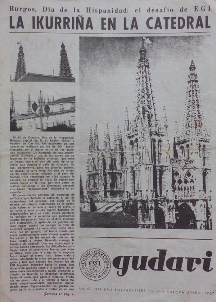 Gudari nº 43.1967. Boletín clandestino de EGI. Colocación de una ikurriña en la Catedral de Burgos el 12 de octubre.