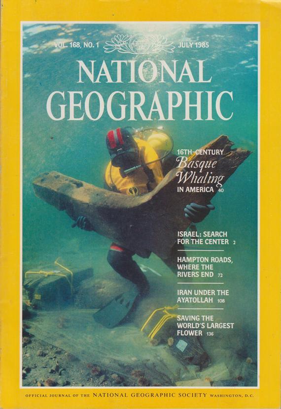Portada de la edición de julio de 1985 de la revista National Geographic, donde se escribe sobre los balleneros vascos en la Norteamérica del siglo XVI. Incluyendo la imagen de esta portada