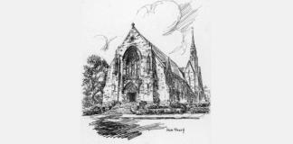 A Sketch Of St. Ignatius Church, Chestnut Hill C. 1949. Pilot Photo:Courtesy Archdiocesan Archives