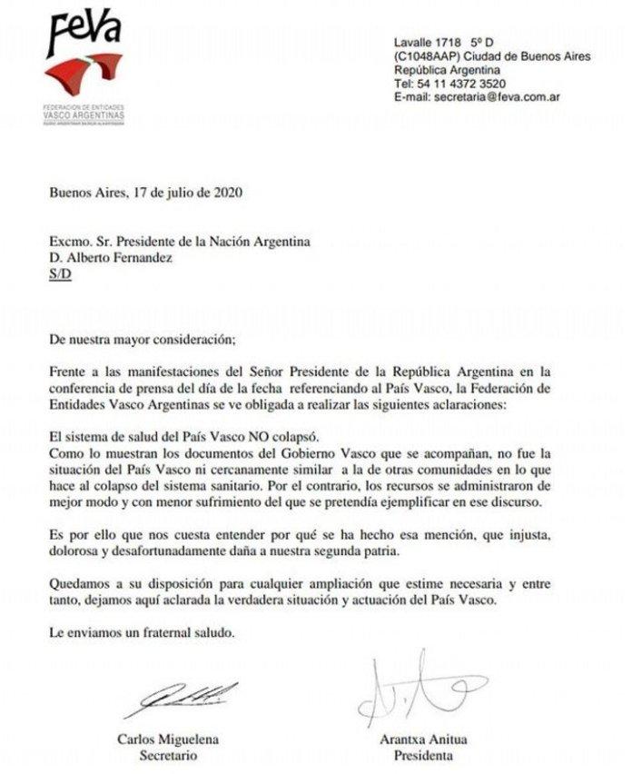 La carta de la comunidad vasca en repudio de los dichos de Alberto Fernández.
