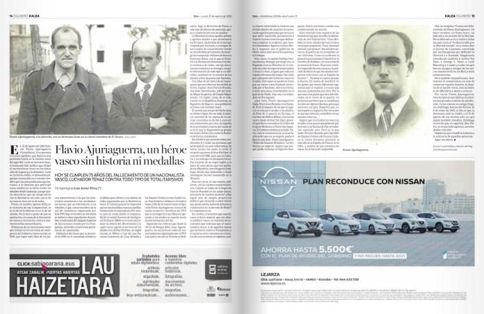 2020-8-31 Deia articulo 75 años de Flavio Ajuriaguerra