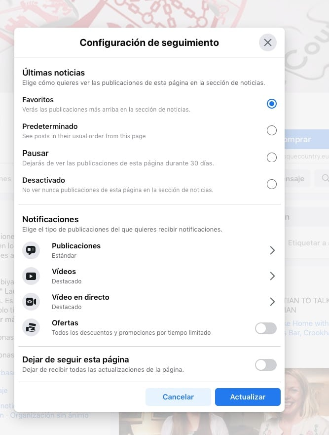 Facebook. Configuración de seguimiento