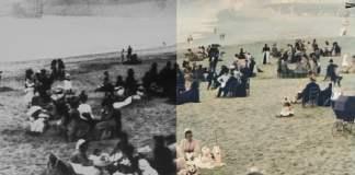 La «Grande plage» de  Biarrtiz 1899. Film restaurado por  Denis Shiryaev