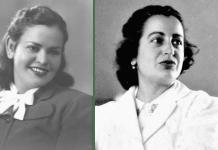 Guillermina (Izd.) y Rebeca (Dch.)Uribe Bone. Respectivamente primera ingeniera civil y primera ingeniera química de Colombia