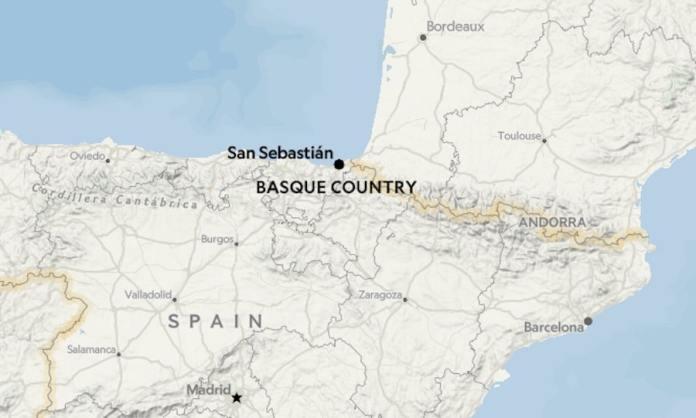Mapa de ubicación de «Basque Country» en la versión en ingles del artículo sobre la sidra vasca, no recogido en la edición en castellano
