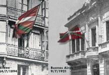 La Ikurriña en el Euskaldun Batzokija de Bilbao (14/7/1894) y en el Laurak Bat de Buenos Aires (9/7/1921)
