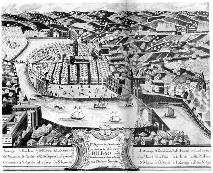 Bilbao en 1777. De un cuadro de Thomas Morony