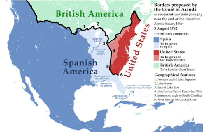 Borders proposed by the Count of Aranda in his conversations with John Jay about the end of the US War of Independence
