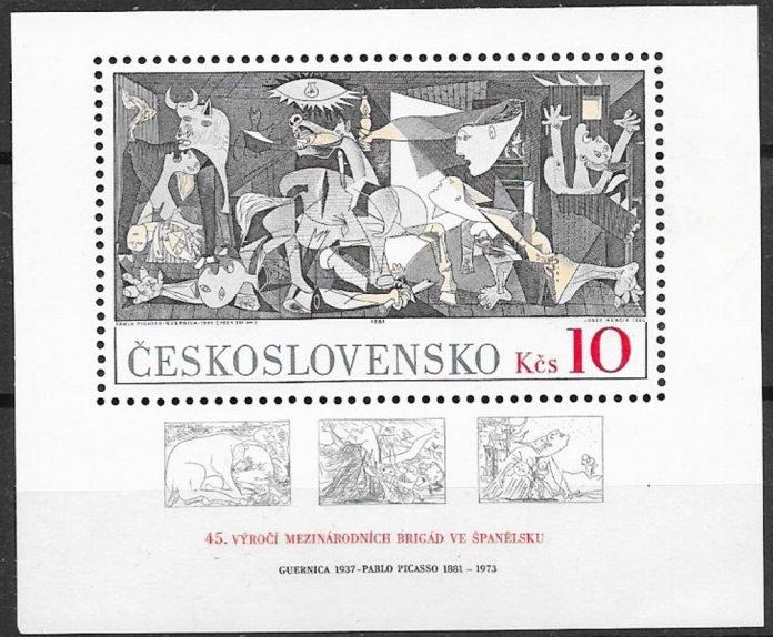 Sello checoslovaco emitido en 1981 con motivo del 45 aniversario de las Brigadas Internacionales