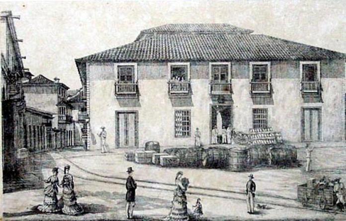 Sede de la Real Compañía Guipuzcoana de Caracas en Puerto Cabello (Venezuela). Dibujo tomado del Álbum de Caracas y Venezuela