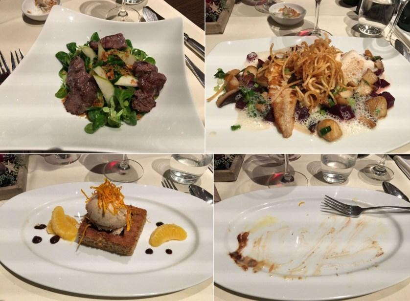 Alles aufgegessen: Salat mit Hirsch-Medaillons, Steinbeißer, Rübli-Torte. c) Dörte Behrmann
