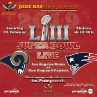 Plakat für die Live Übertragung des 53. Super Bowls im Kulturzentrum Pumpwerk in Wilhelmshaven | Plakat: Jade Bay Buccaneers