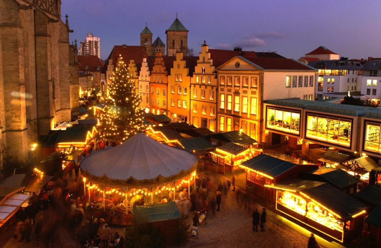 Weihnachtsmarkt Osnabrück: Luftaufnahme vom Marktplatz