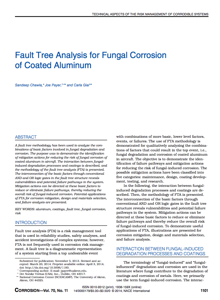 Fault tree analysis for fungal corrosion