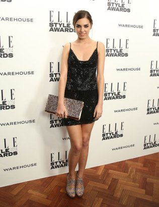 Amber Le Bon wearing Warehouse with Jimmy Choo shoes and bag