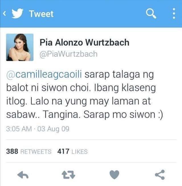 Pia's Tweet Re Siwon's Balot