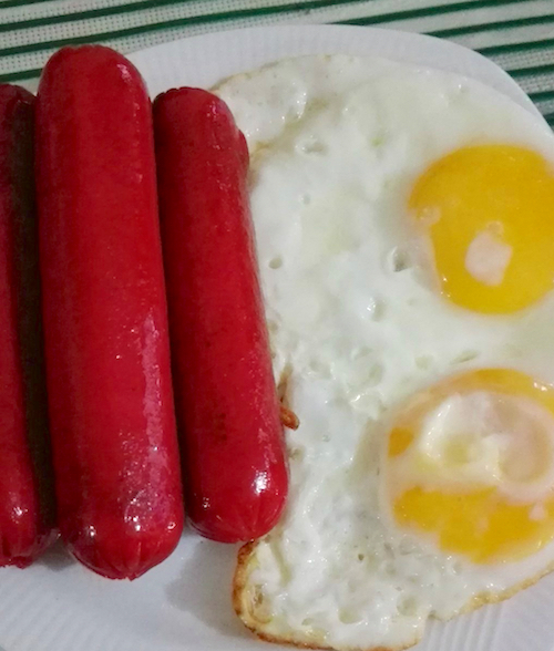 Hot Dogs Eggs And Rice