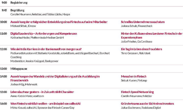 Fintech Career Day Programm