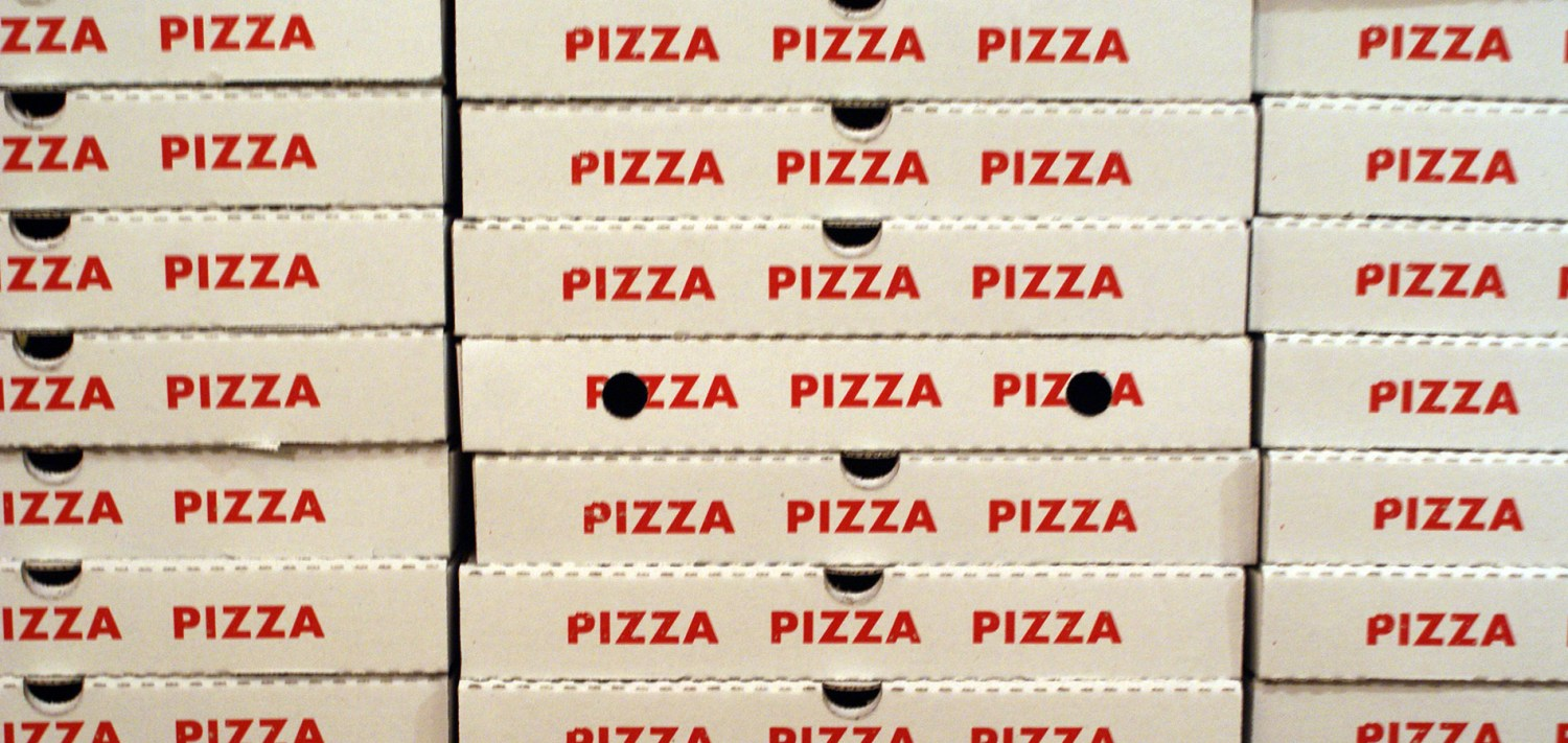Pizza boxes ready for delivery in Halifax, Nova Scotia