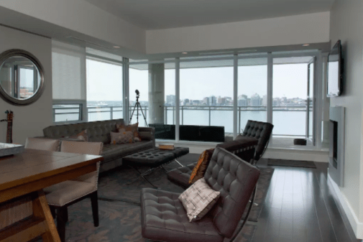 A living room overlooking Halifax Harbour