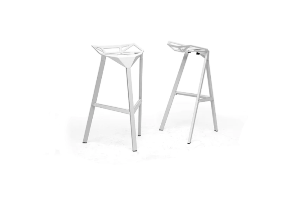 White, stackable modern stools
