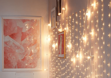 LED lights hanging from copper wire