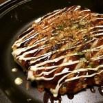 Okonomiyaki in frying pan