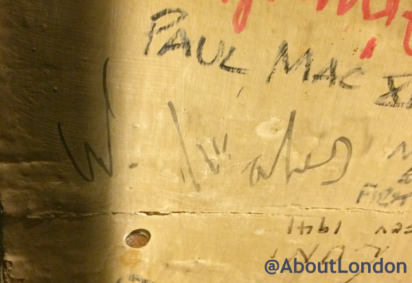"""Prince William's signature on the ceiling at The Blue Bell Inn (He wrote """"W. Wales"""")"""