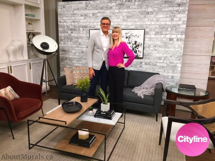 Old Brick Wall Mural Black and White is featured on Cityline with Brian Gluckstein and Adrienne Scanlan