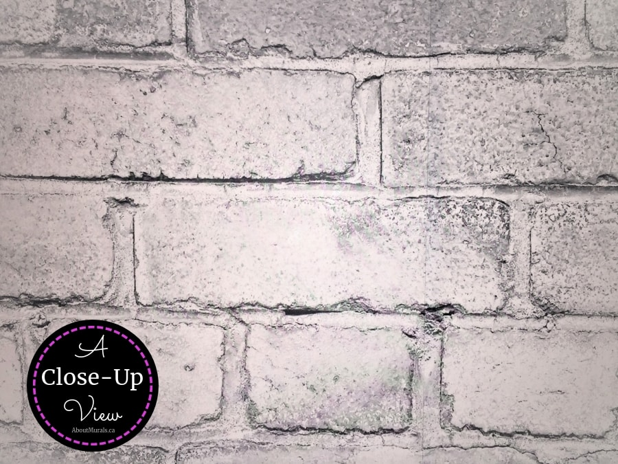 A close up photo of Old Brick Wall Mural Light Black and White by AboutMurals.ca