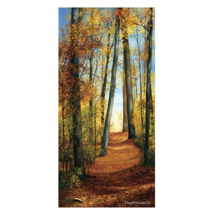 Path of Light Wall Mural features an orange, autumn themed landscape, sold by AboutMurals.ca