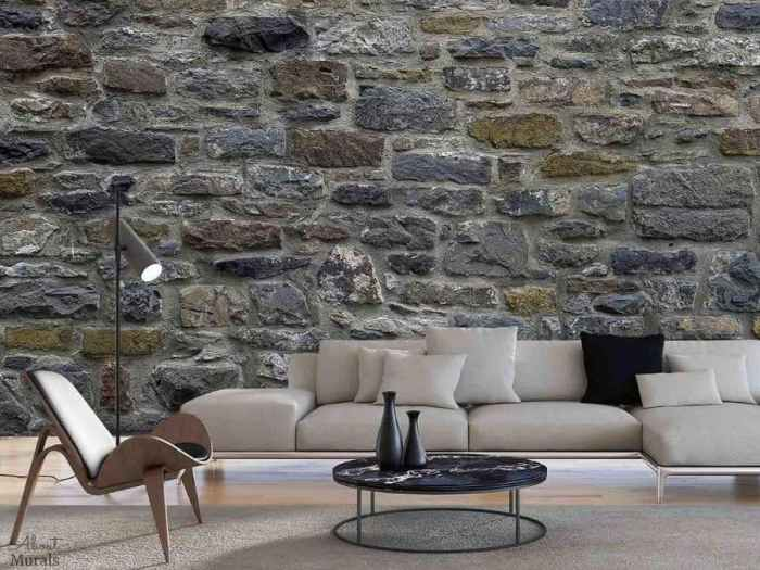 Stone Wall Mural, as seen in this living room, features blue grey textured stones. Stone wallpaper sold by AboutMurals.ca.