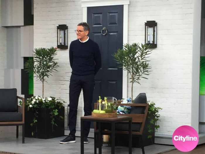 Brian Gluckstein used a white brick wall mural from AboutMurals.ca on an episode of Cityline