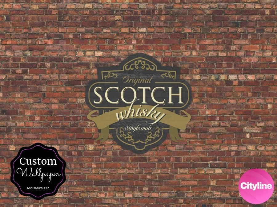 Custom wallpaper made by AboutMurals.ca, featured a whisky label over brick wallpaper, used on set at Cityline