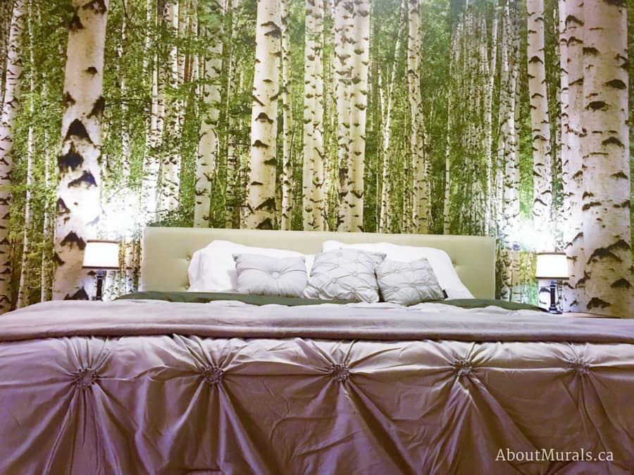 A birch wallpaper (in green) is a featured wall in a bedroom from AboutMurals.ca