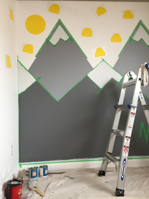 DIY mountain mural by adding outlines to the snowcaps like Adrienne of AboutMurals.ca