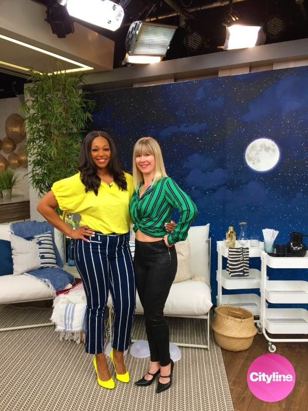 Night Sky Mural, as seen on Cityline with Tracy Moore, features a dreamy navy blue moonlit sky full of twinkling stars and drifting clouds. Easy wallpaper sold by AboutMurals.ca.