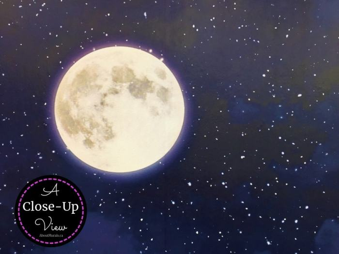 A close up view of Night Sky Mural including a dreamy moon and twinkling stars. Removable wallpaper sold by AboutMurals.ca.