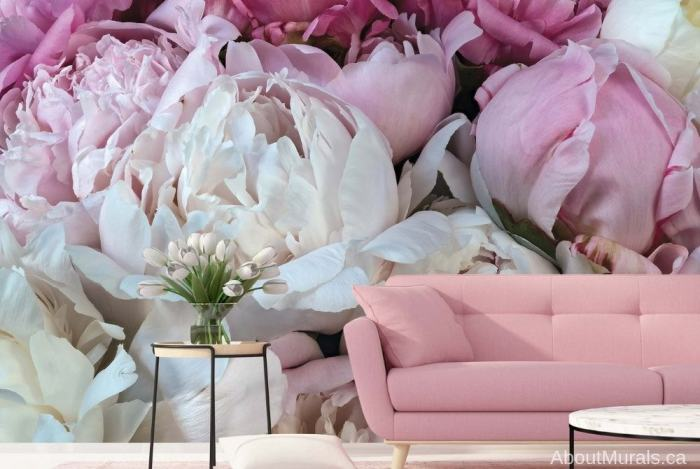 Peony Wallpaper, as seen on the wall of this living room, features a closeup of these beautiful pink florals. Flower wall murals sold by AboutMurals.ca.