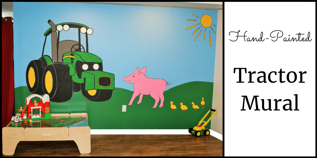 A tractor mural, painted by Adrienne of AboutMurals.ca, features a green tractor, pig and ducks on a farm