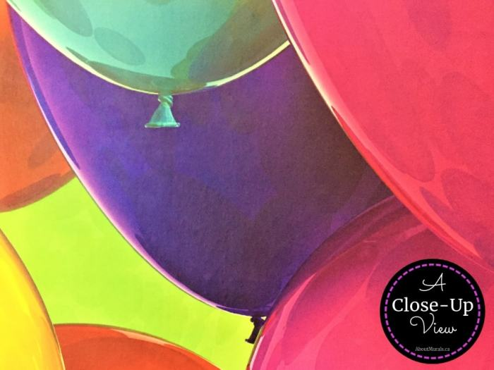 A close-up view of a balloon wallpaper, sold by AboutMurals.ca