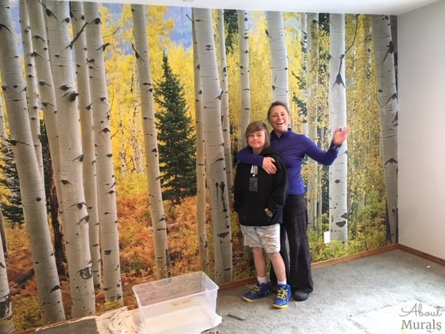 Sandra and son hang this Aspen tree wallpaper. Prepasted wallpaper sold by AboutMurals.ca