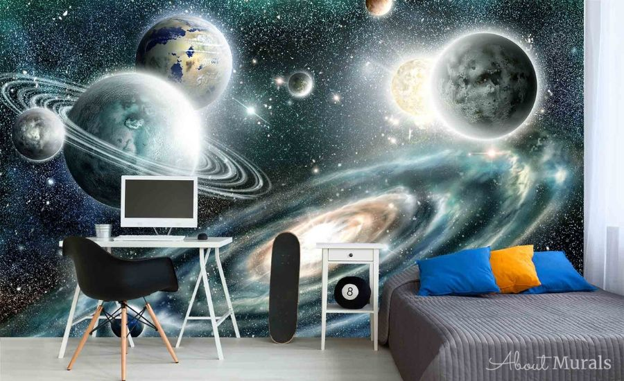 Deep in Space Wallpaper, as seen on the wall of this bedroom, features twinkling stars among planets in our solar system. Galaxy wallpaper sold by AboutMurals.ca.