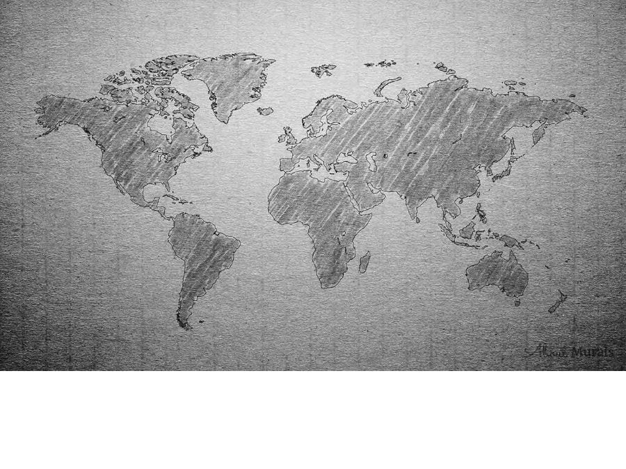 Textured Gray World Map Wallpaper from AboutMurals.ca