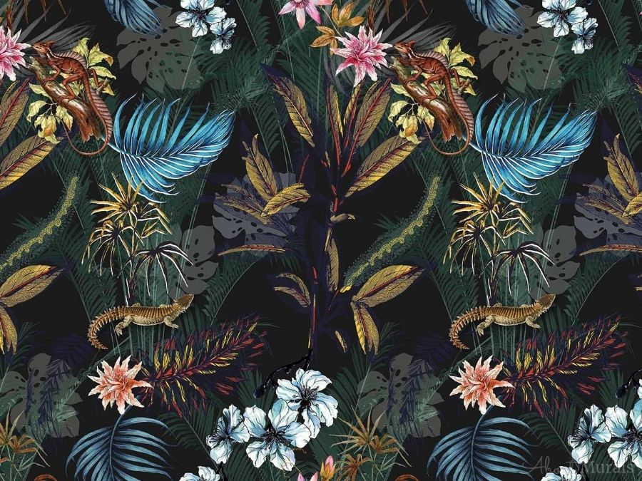 Black Tropical Wallpaper features exotic flowers, banana leaves, palm fronds and lizards on a dark background. Tropical wallpaper from AboutMurals.ca.