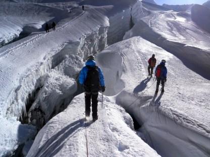 Passing through crevasses