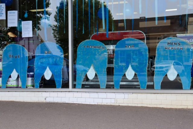 Blue adornments in Crookwell shop window.
