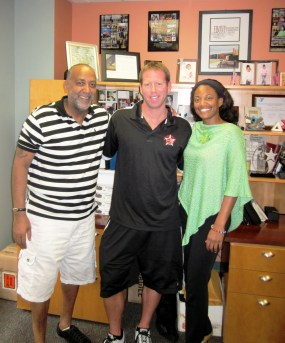Rising Stars Tyrone Green and Dan Gimpel with LIC YMCA Executive Director Ebony Young