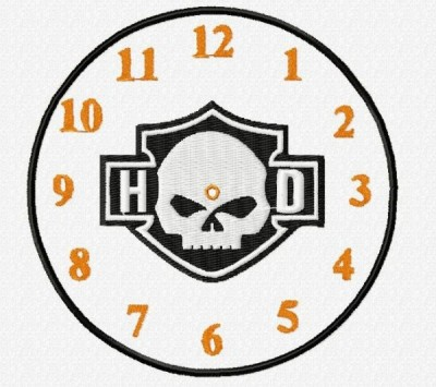 Harley Davidson Clock Face Embroidery Design